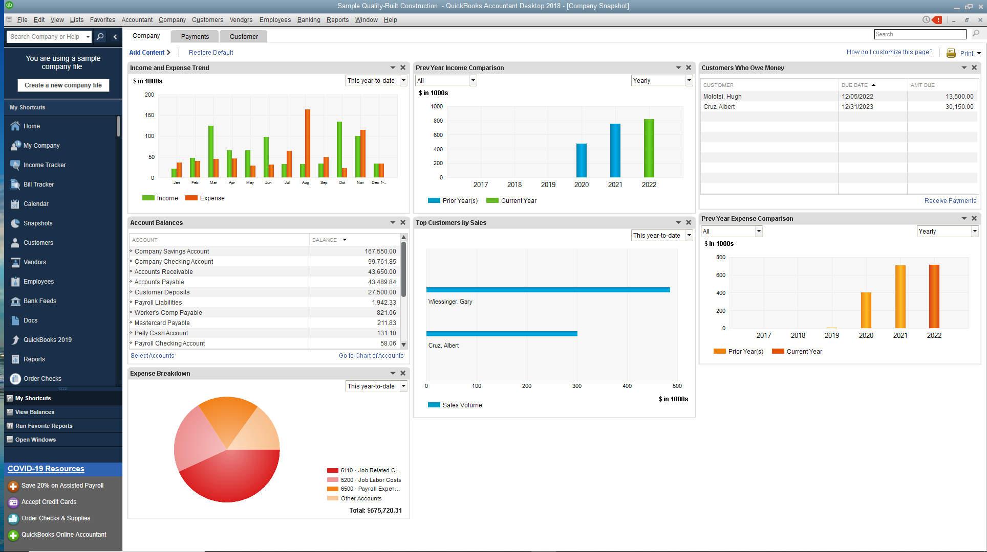 QuickBooks company snapshot screenshot
