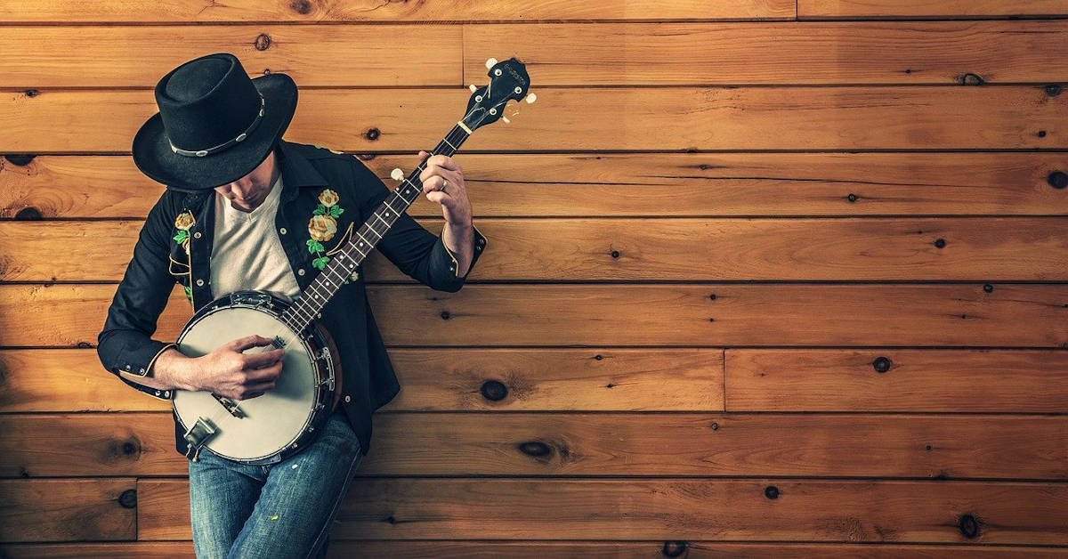 Musician practicing the banjo