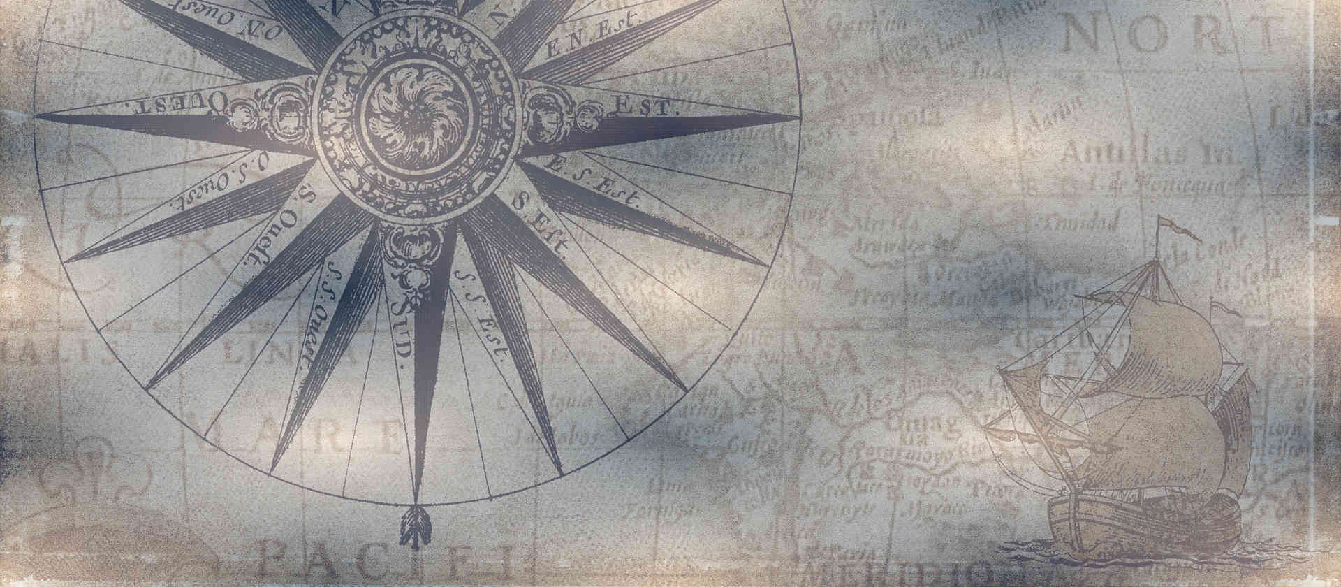 compass rose on old map